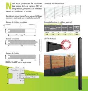 Poteaux et plaques pour clôture bois/béton
