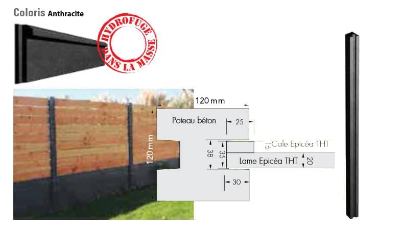 poteaux pour cloture bois-beton